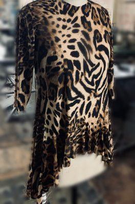 Leopard Zari Ruffle Tunic